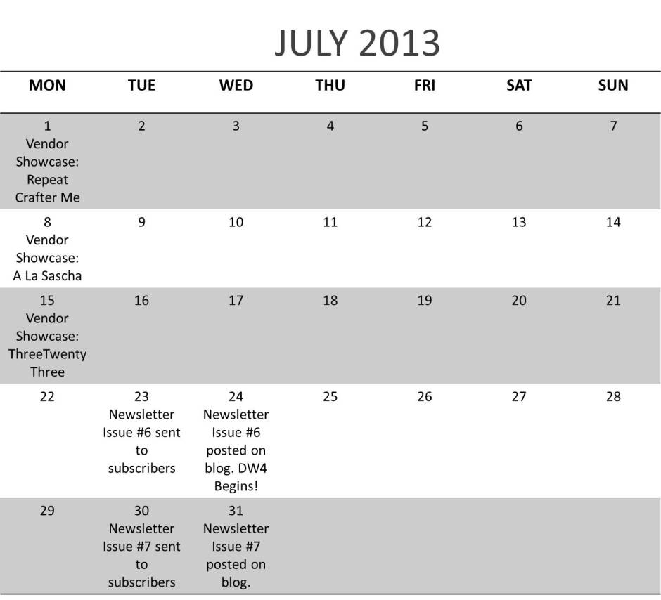 July Calendar | Design Wars 4