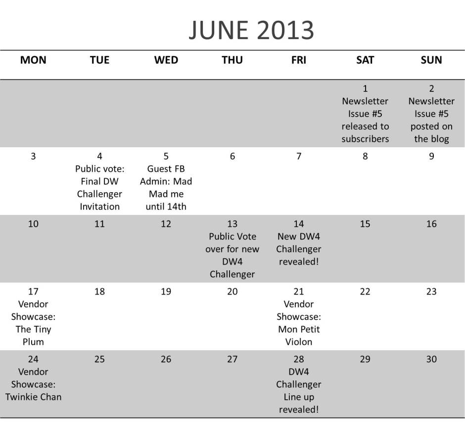 June Calendar | Design Wars 4