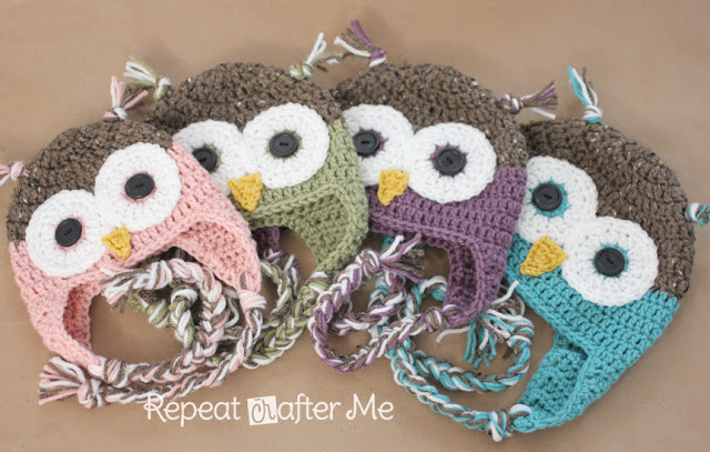 Repeat Crafter Me | Free Owl Hat Crochet Pattern